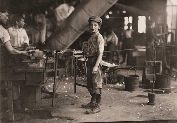 Rob Kidd, one of the young workers in a glass factory. Alexandria, Virginia.