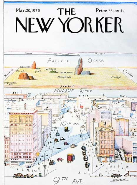 """View of the World from 9th Avenue"", portada de Saul Steinberg"